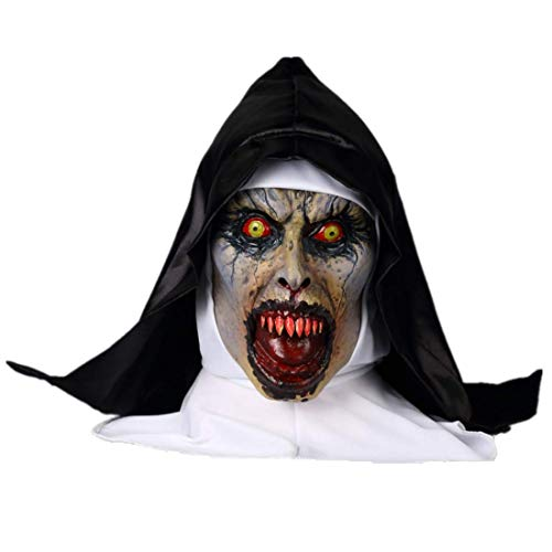 ke Grimace Halloween Scary Latex Mask Sister Virgin Mary Performing Masquerade Dress Up The Conjuring 2 Terrorist Props (Nun 3) -