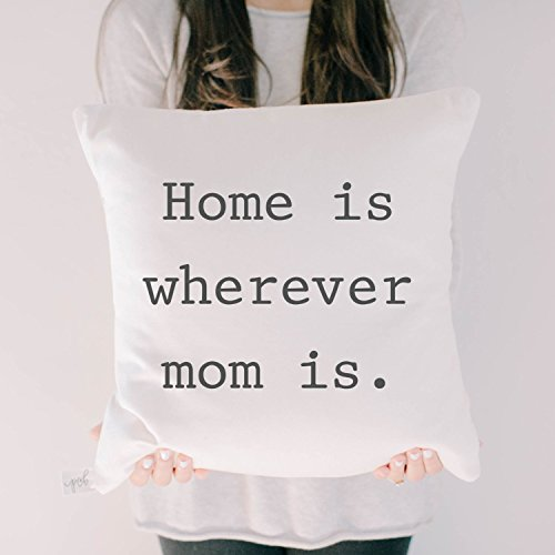 Pillow Cover - Home is Wherever Mom Is, home decor, present, housewarming gift, cushion cover, throw pillow, cushion, pillow case