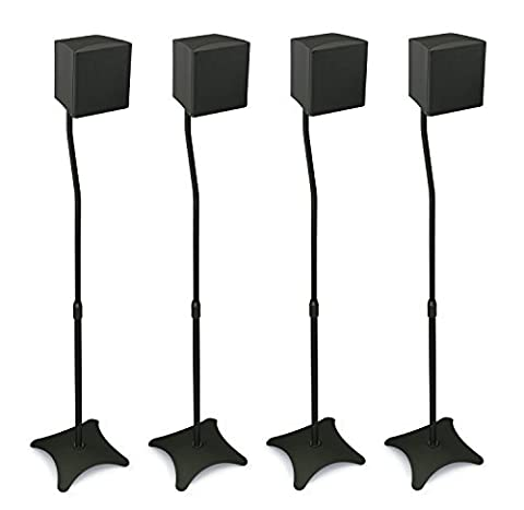 Mount-It! MI-1214 Speaker Stands for Home Theater 5.1 Channel Surround Sound System Satellite Speaker Stands Mounts, Rear and Front, 2 Pairs, 10 lb Capacity, (Audio Speaker Mounts)