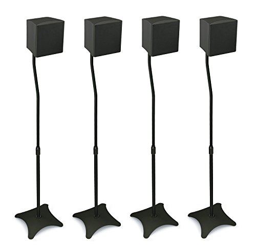 Mount-It! MI-1214 Speaker Stands for Home Theater 5.1 Channel Surround Sound System Satellite Speaker Stands Mounts, Rear and Front, 2 Pairs, 10 lb Capacity, Black (Floor Steel Plates)