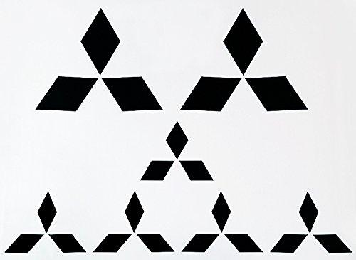 [MATTE BLACK Mitsubishi ALL Models 2002 - 2015 Emblem Overlay Vinyl Decal Logo Sticker COMPLETE SET] (Mitsubishi Mirage Vinyl)