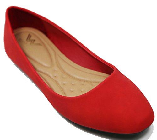 Walstar Womens Ballet Flat Shoes Fancy & Shinny Slip - Shinny Red