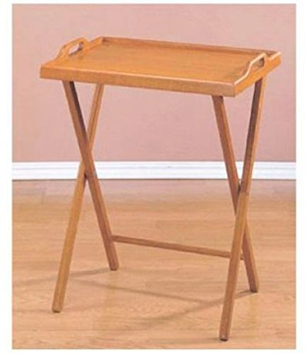 Table Pair Dining With Convenience With This Wooden Folding TV Tray Oak Finish