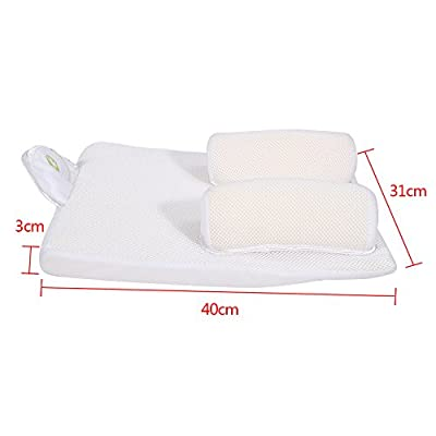 Baby Sleep Positioner with Pillow, Portable Infant Crib with Reduce Vomiting Milk Design and Anti Sl