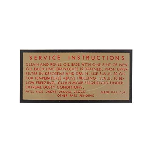Photo MACs Auto Parts 49-47469 Oil Bath Air Cleaner Decal - Service Instructions - For 2 &4 Barrel Carburetor -