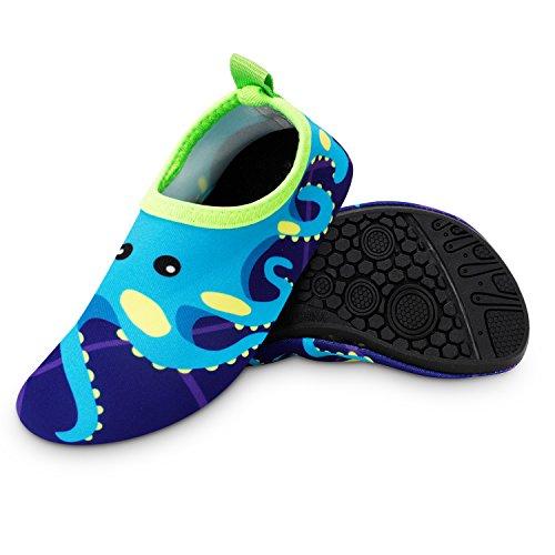Bigib Toddler Kids Swim Water Shoes Quick Dry Non-Slip Water Skin Barefoot Sports Shoes Aqua Socks for Boys Girls Toddler, Blue Octopus, 8 Toddler