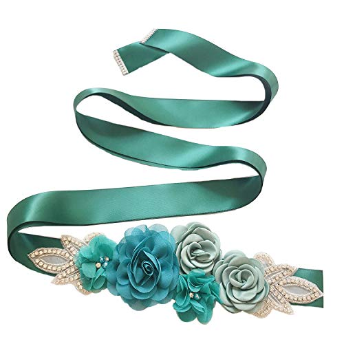 - Sash Belt with Flowers Pearls Rhinestone for Wedding Bride/Baby Shower Dress,Teal