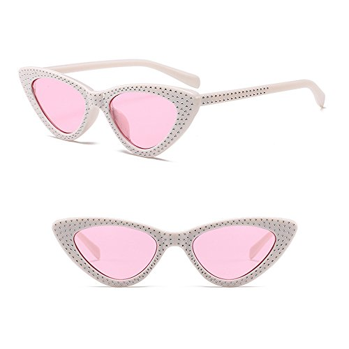 XFentech Rétro de Œil Chat Lentille Lunettes Classique UV400 Triangle Cadre Lunettes Rose Mode soleil Blanc de Femmes rxwnE0qr1
