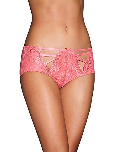 Frederick's Of Hollywood Women's Lace Boyshort Brief Underwear - Ladies Sexy Lingerie - Luisa Sunkist Coral, Medium