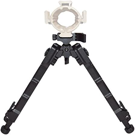 Image of the FIreclub black tactical bipod with legs stretched on a white background.