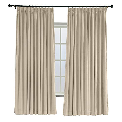 TWOPAGES 84 W x 84 L Pinch Pleated Curtains Room Darkening Velvet Curtain with Blackout Lining for Traverse Rod Or Track, Living Room Bedroom Meetingroom Club Theater Patio Door (1 Panel), Cashmere