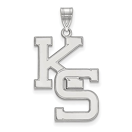 925 Sterling Silver Officially Licensed Kansas State University College XL Pendant (33 mm x 19 mm) by Mia Diamonds and Co.