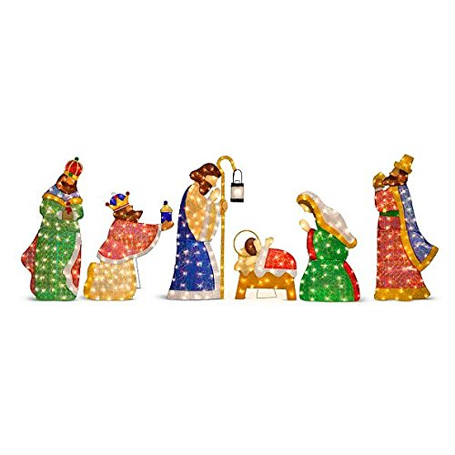 (Improvements Lighted Shimmering Outdoor Nativity Set Christmas Decoration - Features Mary, Joseph and Baby Jesus and 3 Wisemen)