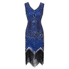 Romacci Gatsby Dress Women 1920s Glitter Sequin Paisley Sleeveless Shiny Flapper Tassel Glam Party Cocktail Gowns…