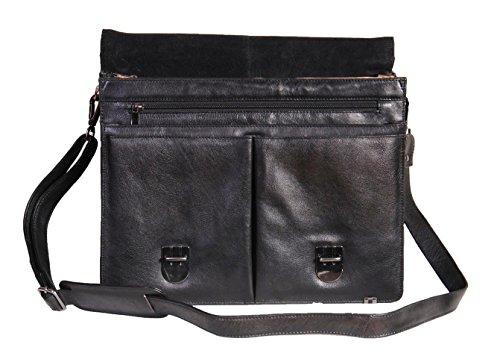 Cuir véritable épaule entreprise mallette Organisateur Messenger sac d'ordinateur portable 882 Noir