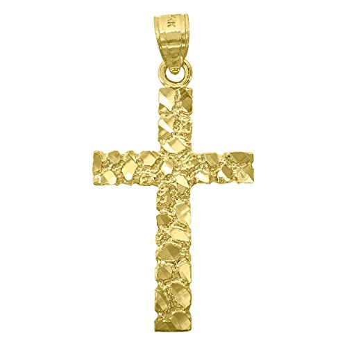 (14kt Gold Mens DC Nugget Cross Ht:33.3mm Religious Pendant Charm)