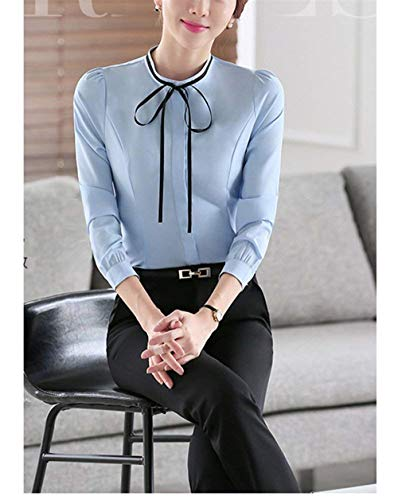 Puro Primaverile Casuali Fit Colore Fashion Mode Autunno Tshirts Camicetta Shirts Elegante Donna Slim Blau Strappy di Lunga Vintage Manica Marca Business Camicia Lunga EZqFSO