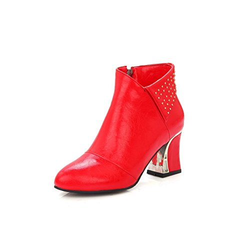 Boots Toe Rivet Imitated Round Red Leather Bottom Skidding AdeeSu Anti Womens qzwYcIf
