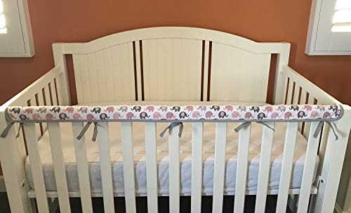 Effe Bebe Reversible Crib Rail Cover - Breathable 200 Count Cotton on face, 100% Cotton Velour Backing, 1PC/Set, Narrow Long Petal Grey