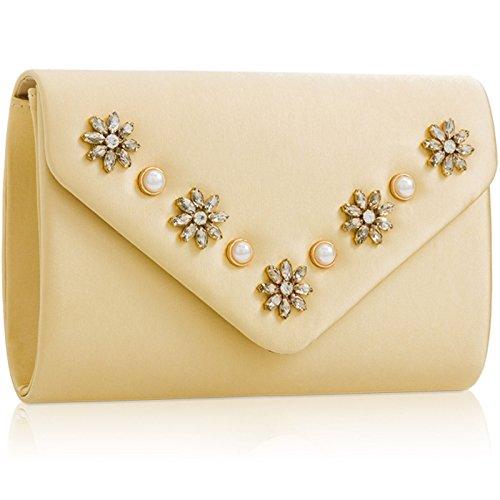 Diamante Clutch Bag Rhinestone Gold for Women Purse Xardi Satin with Envelope Bridal London Shaped Medium Evening Pearl tFqw1O