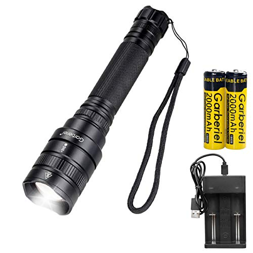 Garberiel 3000Lumens XHP50 Flashlight LED USB Rechargeable Torch Light Tactical Handheld Waterproof Zoomable 5 Modes Camping Hiking Fishing Outdoor