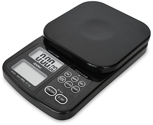 dretec Digital Drip Coffee Scale with Timer, Multifunction Kitchen Food Scale, 1g to 2kg, Black, Officially Tested in Japan (batteries included) (Coffee Timer)