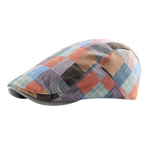 Women's Duckbill Hat Casual Plaid Artist Berets Newsboy Beanie Ladies Adjustable Cap
