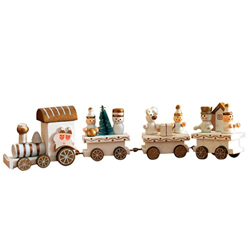 OULII Cute Wooden Mini Train Ornaments Kids Gift Toys for Christmas Party Kindergarten Decoration -