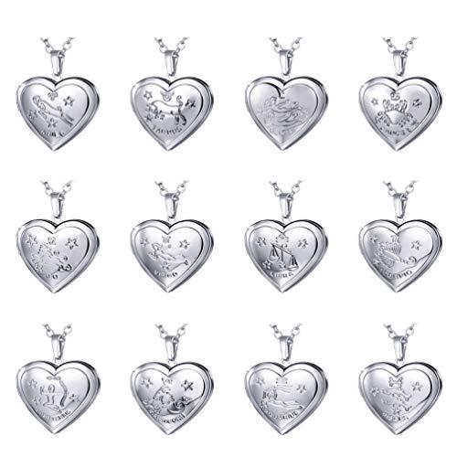 (U7 Heart Shaped Photo Locket Pendant Necklace Platinum Plated Horoscope Zodiac Sign Leo Jewelry, Unisex Style)