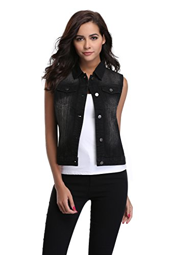 (Women's Sleeveless Vintage Ripped Button Up Western Pockets Cropped Washed Denim Vest Jacket Black S)