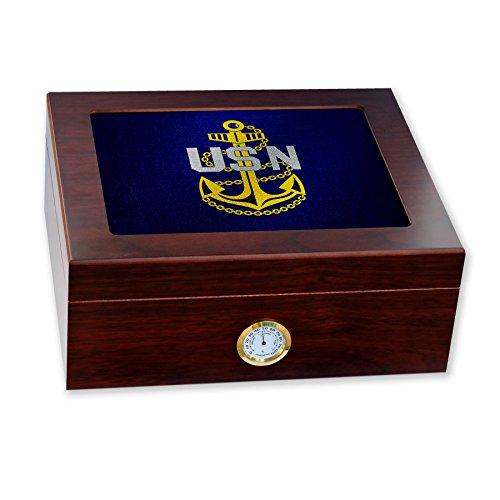 Premium Desktop Humidor - Glass Top -US Navy Chief Petty Officer, rank ins (collar - Glasses Us Navy