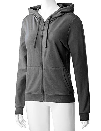 Regna X Women's Long Sleeve Casual Pullover Full Zip Hoodie Grey M by Regna X (Image #3)