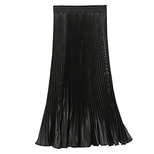 BOZEVON Femmes Robes Longue Taille Elastique Jupe en Mousseline de Soie Pliss Noir