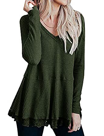Lrady Women's Casual Tunic Tops V Neck Waffle Knit Lace Trim Flowy Blouse Shirts, Army Green, S