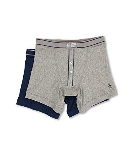 Original Penguin Men's 2-Pack Earl Knit Boxer Brief Set (Large, Gray Heather/Classic Blue)