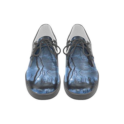 Interestprint Paysage Bleu Profond Avec Pleine Lune Hommes Sneakers Fitness Running Chaussures Oxford