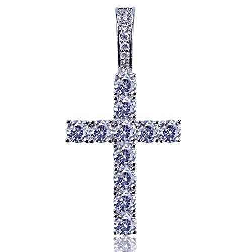 JINAO Rhinestone Round Cut Cross Pendant Silver Plated CZ DIY Jewelry