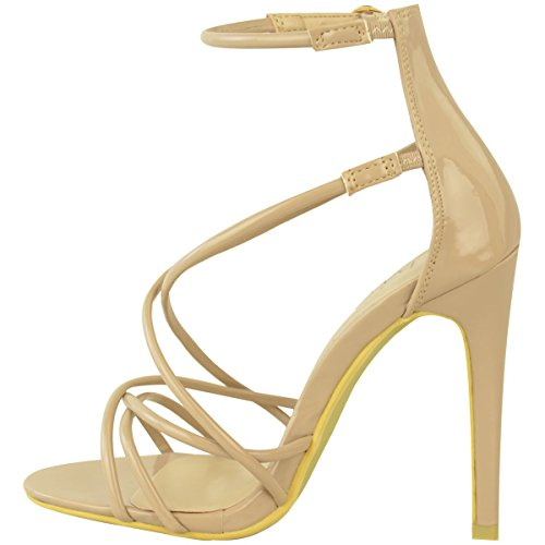 Fashion Thirsty Womens Ladies High Heel Barely There Ankle Strappy Peep Toe Party Sandals Size Nude Patent n6EDTFFfb