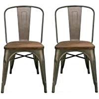 BTEXPERT Industrial Metal Vintage Tabouret Antique Copper Bronze Rustic Distressed Dining Bistro Cafe Stackable Side Chair (Set of 2 )