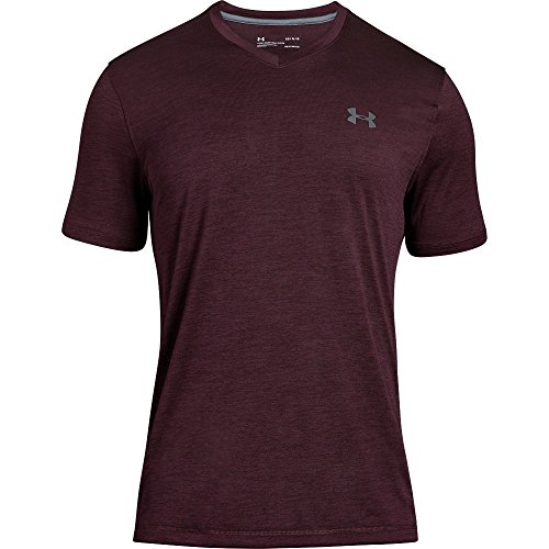 Under Armour Men's Tech V-Neck T-Shirt, Dark Maroon (604)/Graphite, X-Large by Under Armour