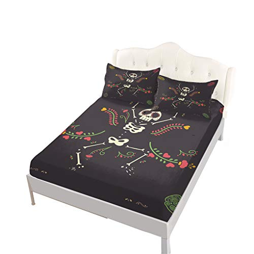 (VITALE Full Size Sheet, Halloween Printed Bedding Fitted Sheet Full Size Set, Cartoon Dancing Skull Skeleton Printed Set of 4 Pieces Full Size Bed Sheets Set Girl's Bedding)