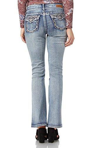 Embroidered Slim Cut Jeans (WallFlower Women's Juniors Luscious Curvy Bling Bootcut Jeans In Kerri, 13)