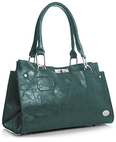 borsa in lo Teal donna Handbag dunkel Big Shop Blu ecopelle spalla wYfX1q6