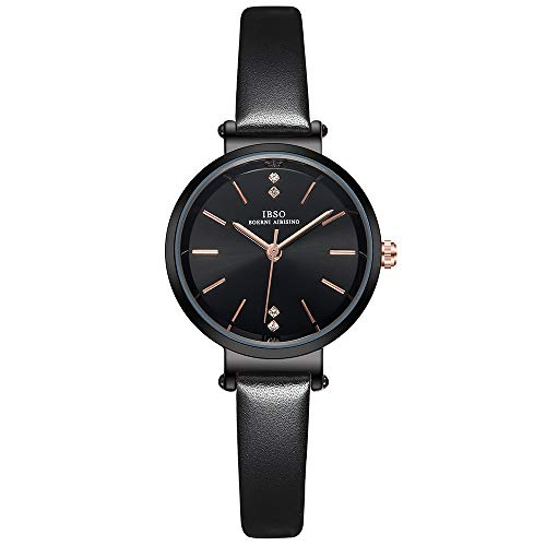 Women Three-Hand Leather Strap Round Watch Fashion Simple Ultra-Thin Quartz Analog Wristwatch (8688 Black)
