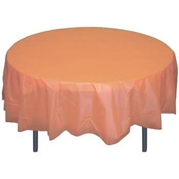Peach Round Plastic Table Cover