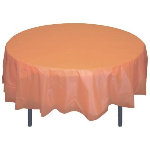 6-Pack Premium Plastic Tablecloth 84in. Round Plastic Table cover - Peach