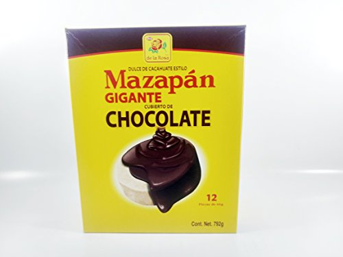 Box De La Rosa Mazapan covered chocolate of 12 Pieces Authentic Mexican Candy with Free Kinder Bar