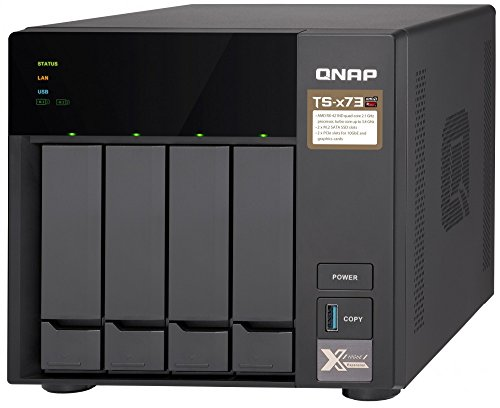 Qnap TS-473-4G-US 4-bay NAS/iSCSI IP-SAN, AMD R series Quad-core 2.1GHz, 4GB RAM, 10G-ready