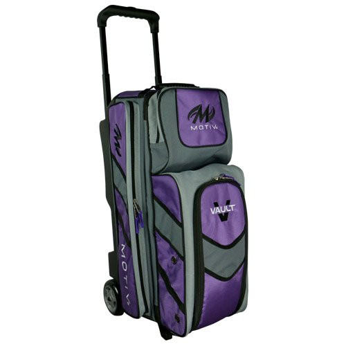 Motiv Vault 3 Ball Roller Bowling Bag Black/Grey/Purple