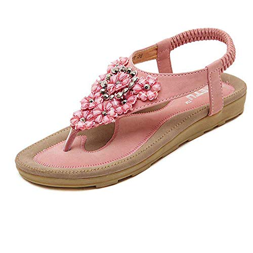 MILIMIEYIK Sandals for Girls, Womens Summer Flat Bohemian Glitter Flip Flops T-Strap Thong Shoes Pointed Shoeses Beach Sandal Pink]()